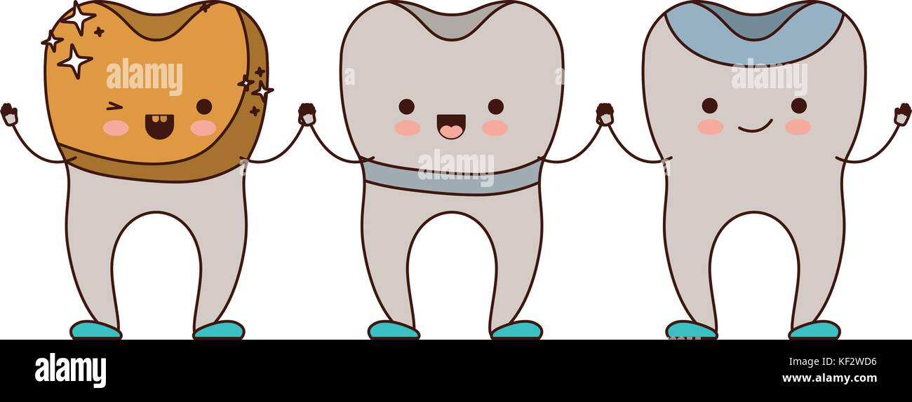 golden crown and implant and restored cartoon teeth holding hands ...