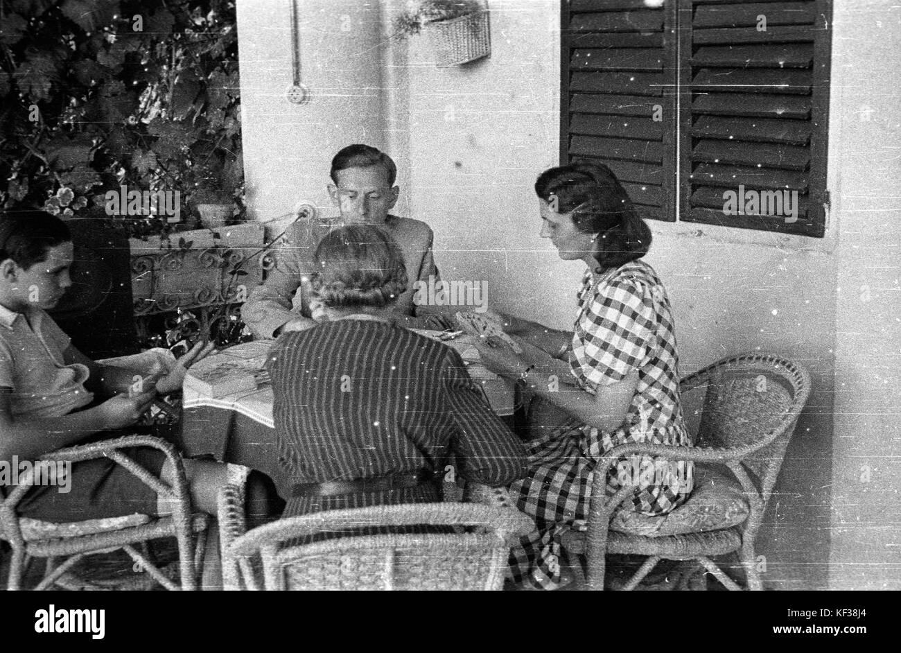 Terrace Companionship Card Game Wicker Chair Venetian Blind