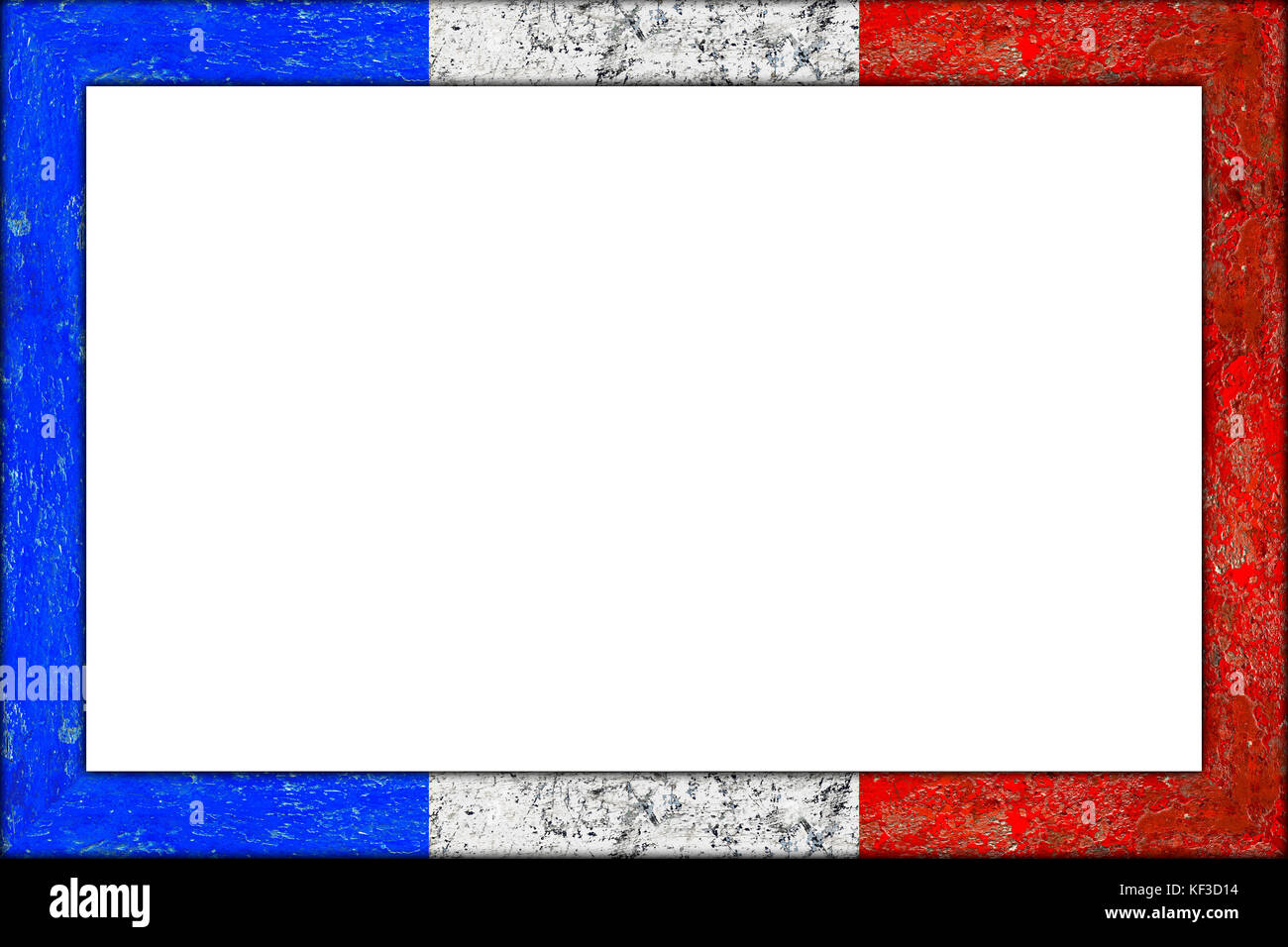 empty wooden picture or blackboard frame in france french flag ...