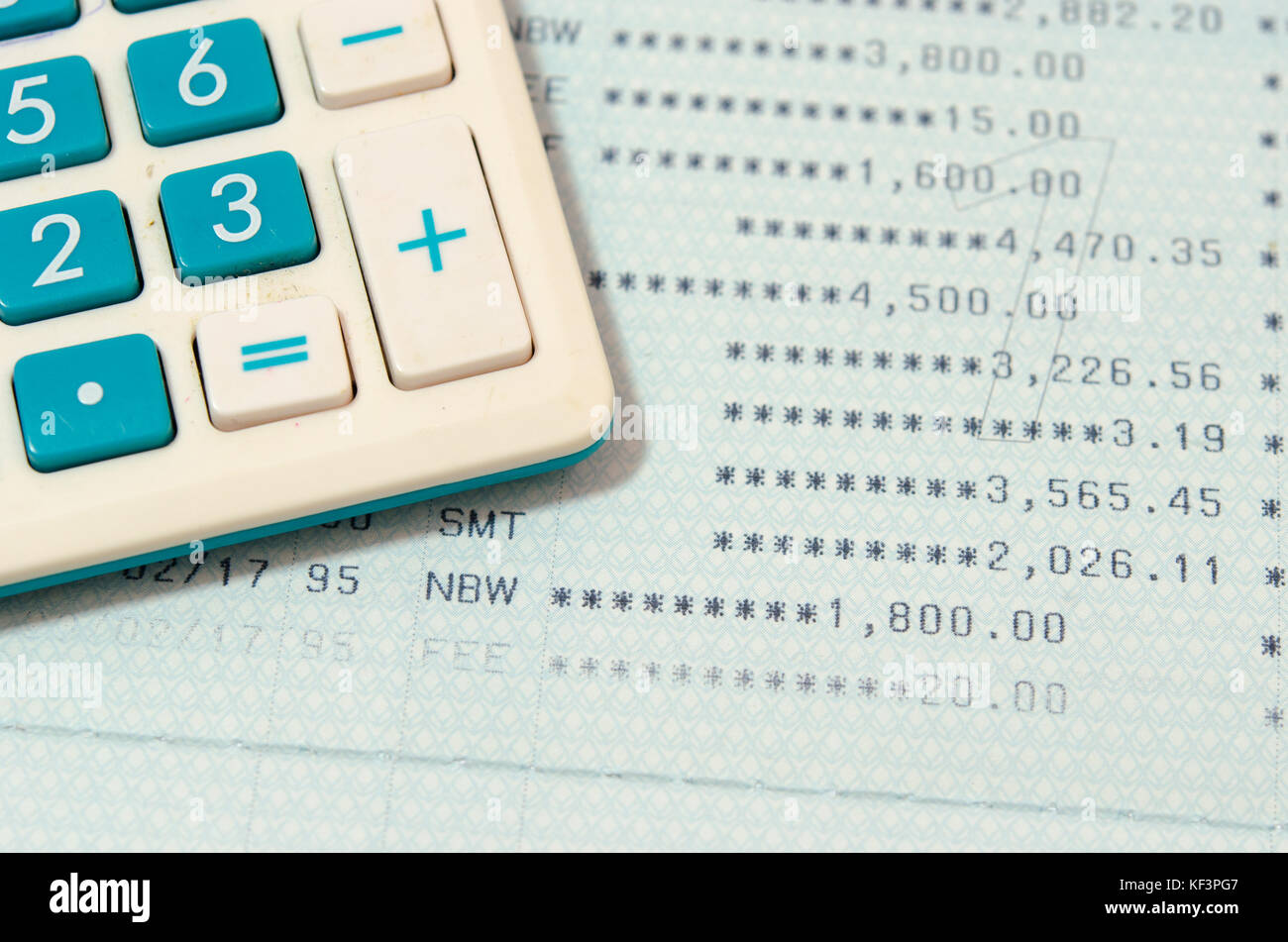 Saving Account Book Bank.Business Finance with calculator Stock ...
