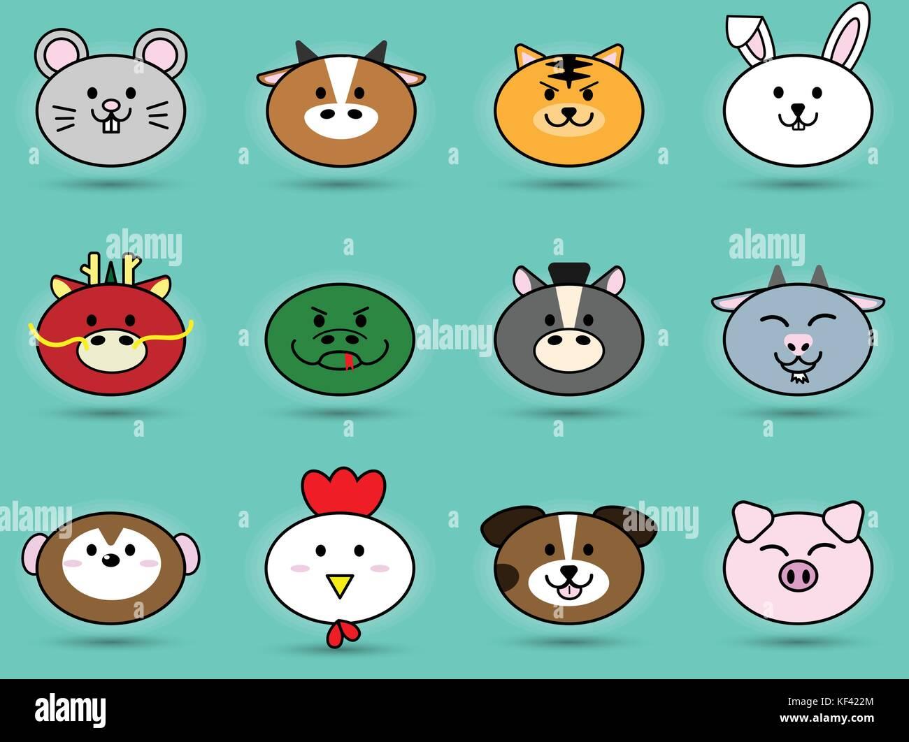 Fatty cute head of animal sign symbol for chinese zodiac horoscope fatty cute head of animal sign symbol for chinese zodiac horoscope collection set vector icon design illustration biocorpaavc