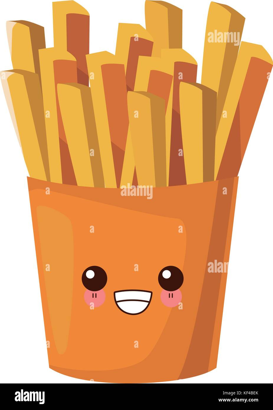 cute cartoon french fries vector illustration isolated on