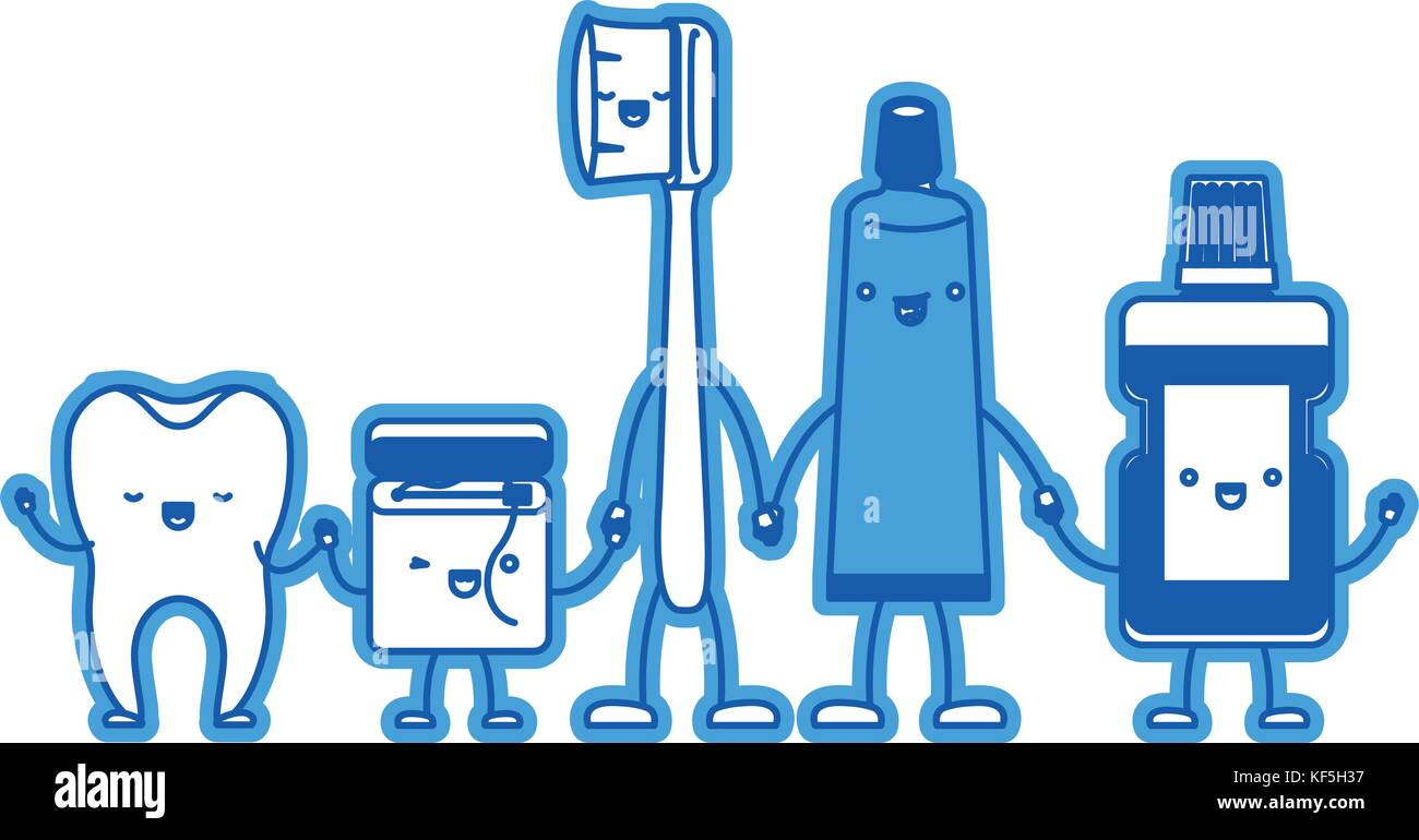 96637c799 tooth and dental floss and toothbrush and toothpaste and mouthwash in cartoon  holding hands in blue silhouette