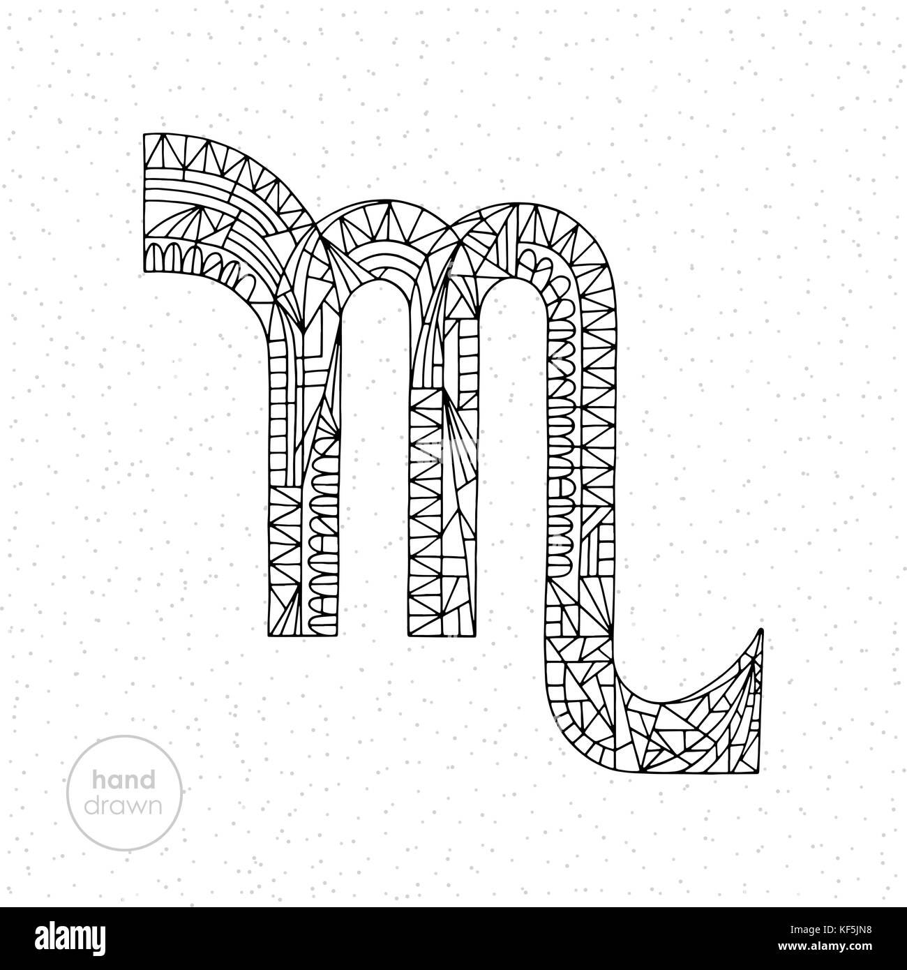 Scorpio zodiac sign vector hand drawn horoscope illustration stock scorpio zodiac sign vector hand drawn horoscope illustration astrological coloring page buycottarizona Image collections