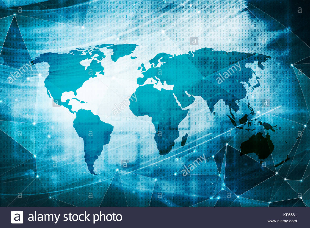 Artistic World Map On Abstract Triangle Background With Binary - Artistic world map