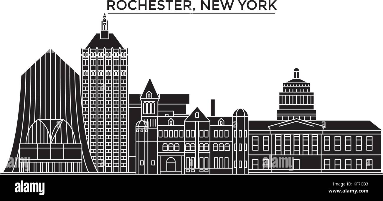 usa rochester new york architecture vector city skyline travel