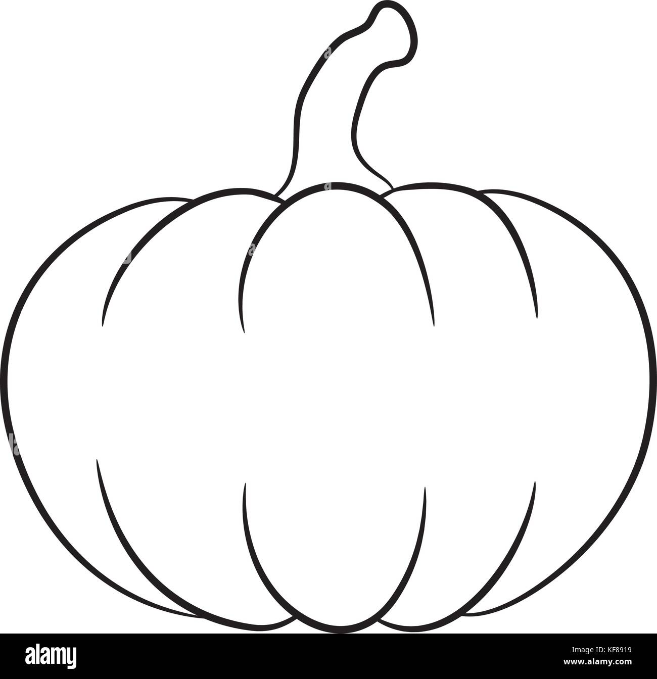 Pumpkin Outline Vector Design Isolated On White Background Stock