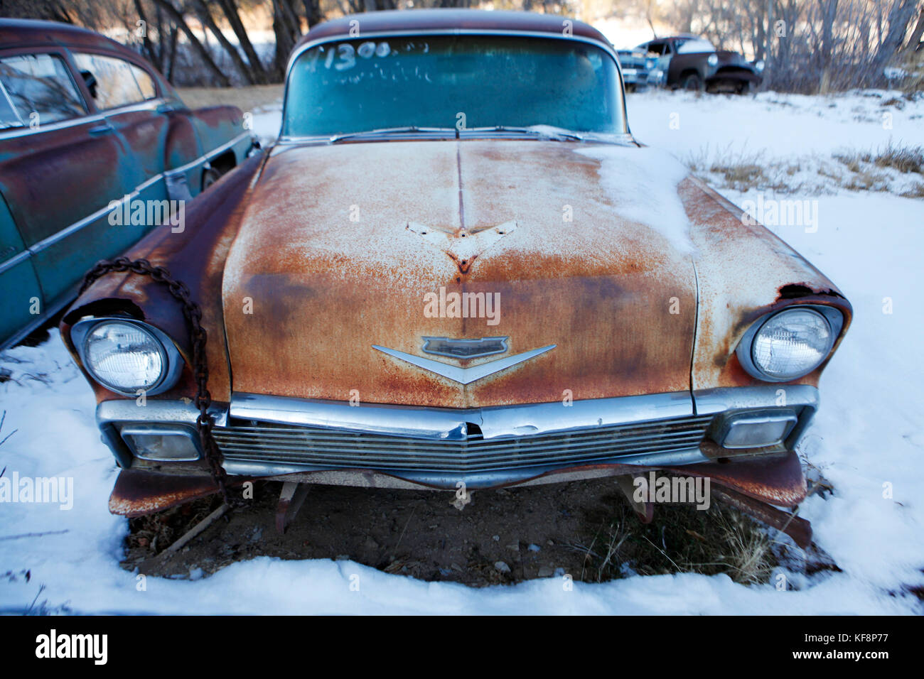 USA, Utah, old car in the snow, Glendale, Hwy 89 Stock Photo ...