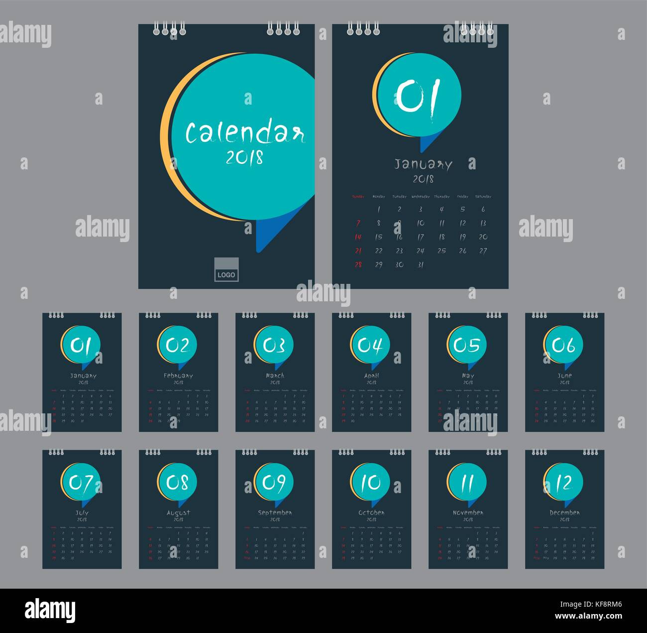 2018 calendar desk calendar modern design template with place for photo week starts sunday a5 or a4 paper size vector illustration