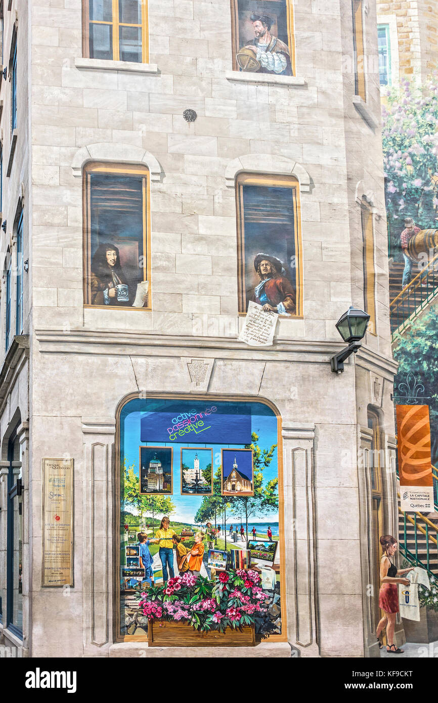 Wall Mural, Notre Dame Street, Quebec City, Canada   Stock Image Part 66