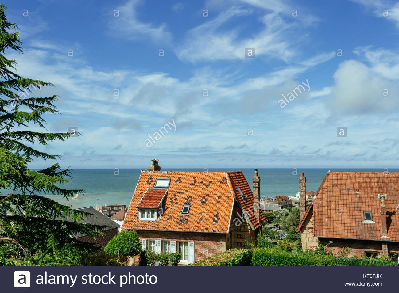Country houses with sea view in the region of normandy france on beautiful countryside lifestyle and typical french architecture and country landscapes sciox Images