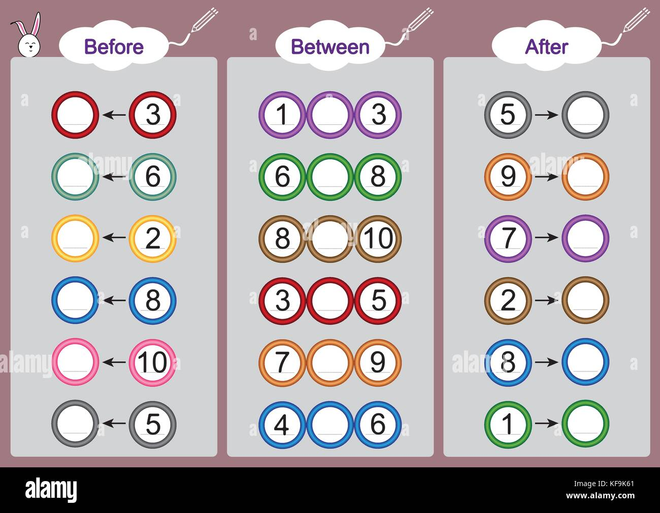 What Comes Before Between And After Math Worksheets For Kids Stock