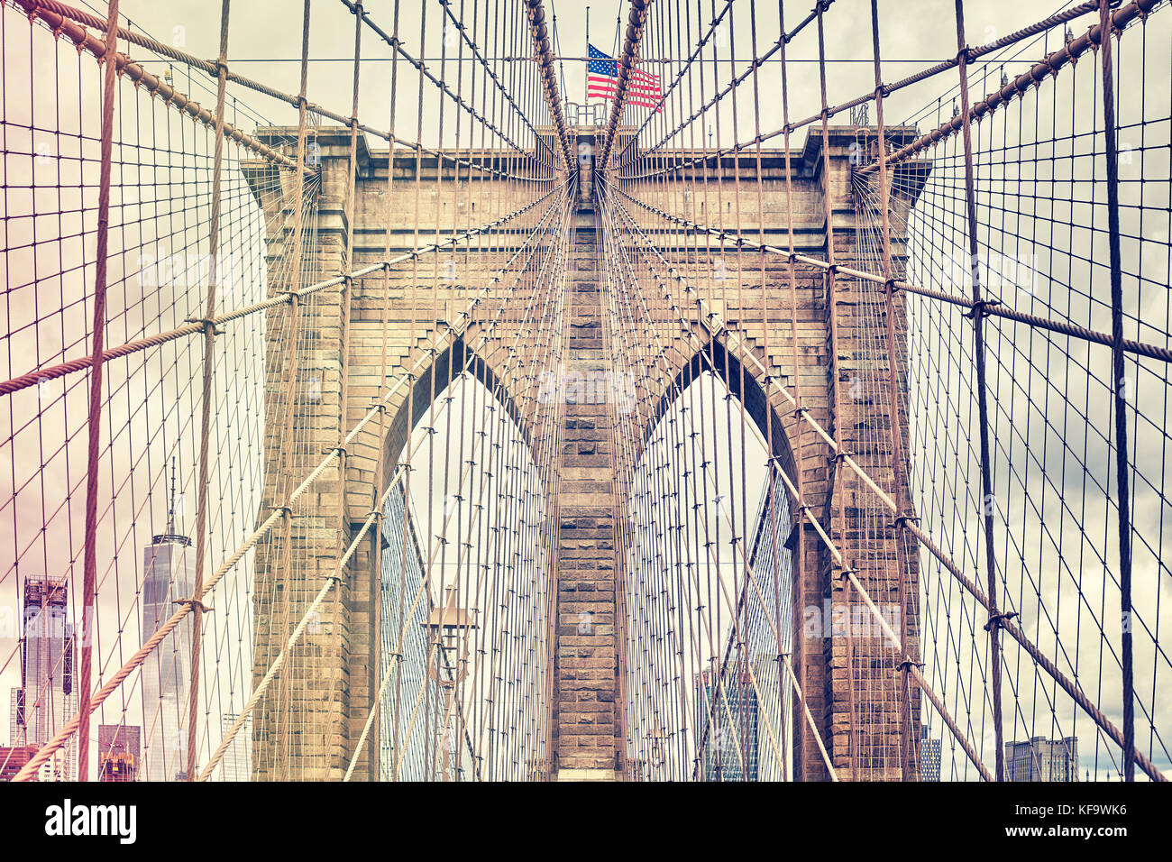 Vintage Filtered Picture Of Brooklyn Bridge One Of New York City