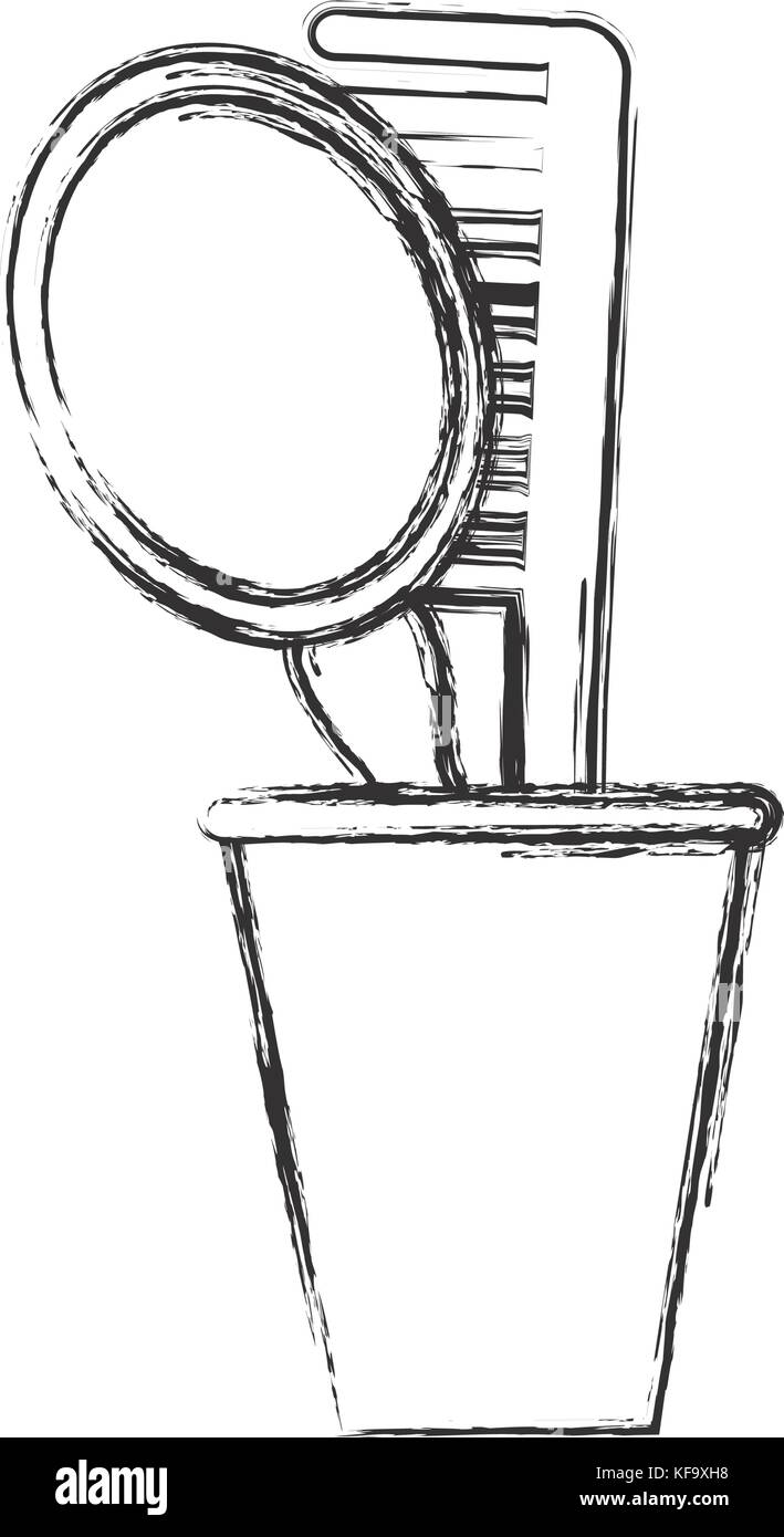 hand mirror sketch. Hand Mirror And Comb Icon Over White Background Vector Illustration Sketch