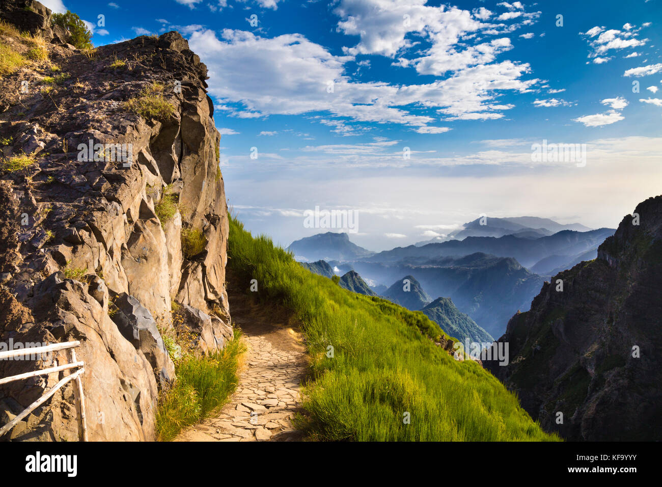 Stunning scenery of mountains and the hiking trail between pico do stunning scenery of mountains and the hiking trail between pico do arieiro and pico ruivo madeira portugal voltagebd Images