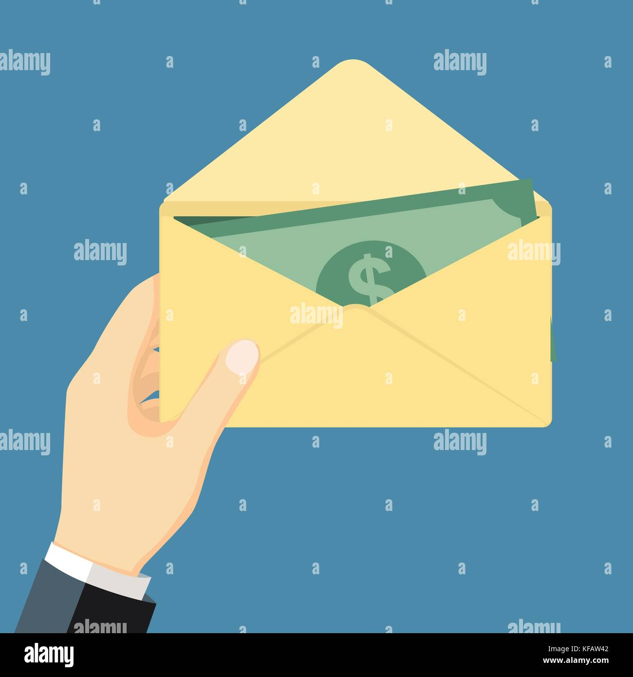businessman holding money in envelope isolated on background cash