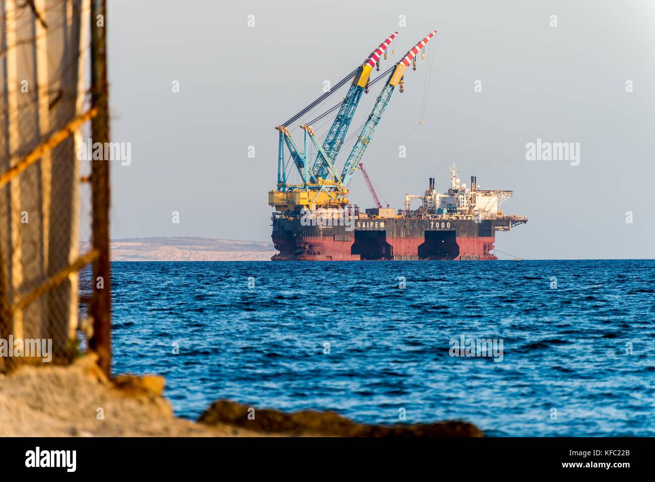 oil and gas rigging platform in cyprus larnaca bay sapiem 7000