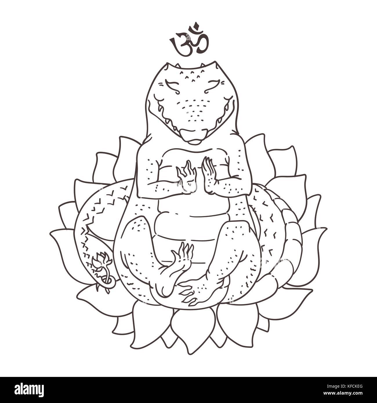 Vector illustration of cute alligator sitting in yoga meditation ...