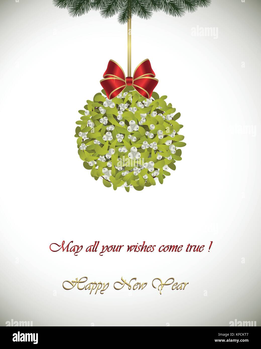 happy new year greeting card mistletoe decoration with red ribbon may all your wishes come true