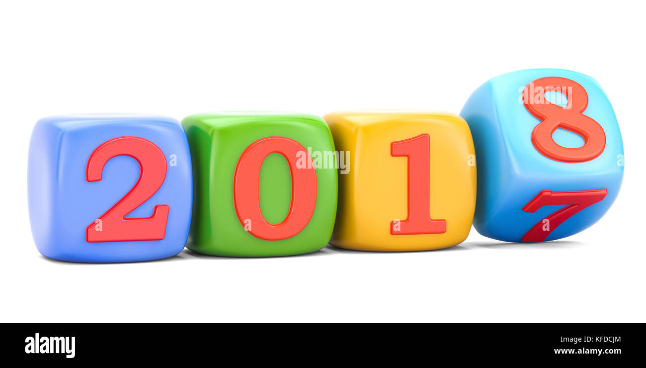 happy new year 2018 concept 3d rendering isolated on white background