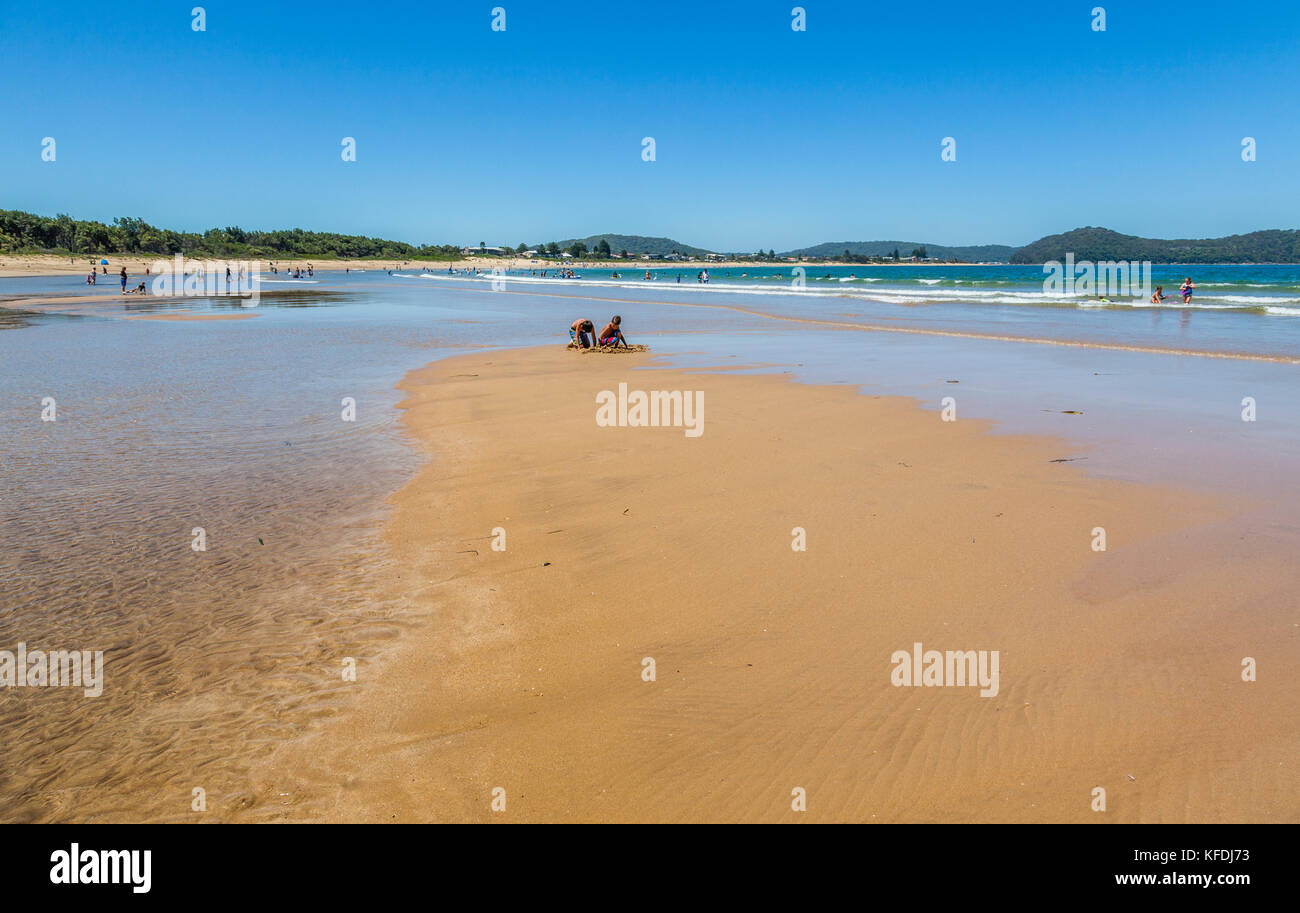 Australia New South Wales Central Coast Broken Bay Umina Beach Exposed Sandbar At Low Tide