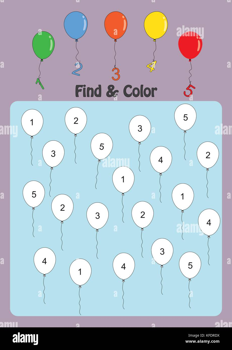 find and color numbers 1-5, math worksheet for kids Stock Vector Art ...
