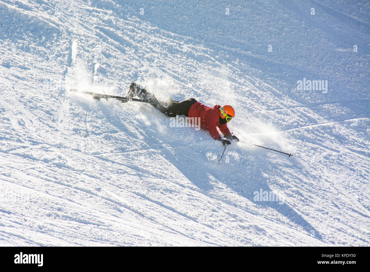 terminillo, italy - january 02, 2015: skier falling on the slope of