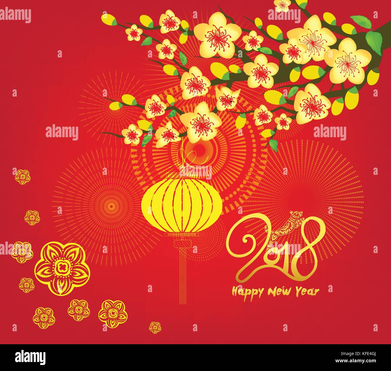 happy new year 2018 greeting card and chinese new year of the dog cherry blossom background