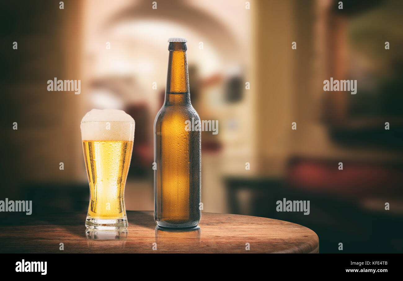 Peachy Unopened Beer Bottle On A Wooden Table Abstract Bar Home Interior And Landscaping Pimpapssignezvosmurscom