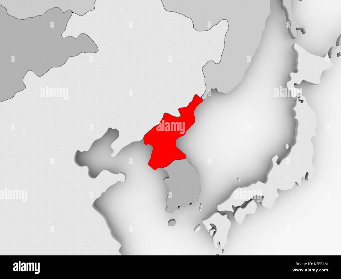 North korea in red on grey political map 3d illustration stock north korea in red on grey political map 3d illustration gumiabroncs Images