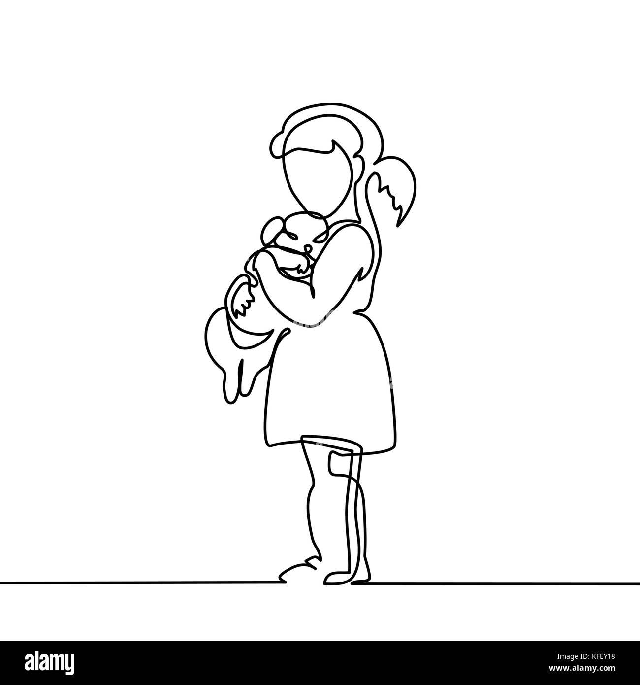 Line Drawing Little Girl : Preschool child hugs stock photos