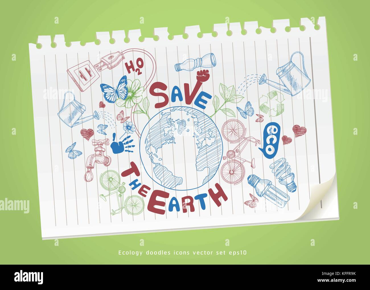 Green World Drawing Concept Save The Earth Ecology Doodles Icons