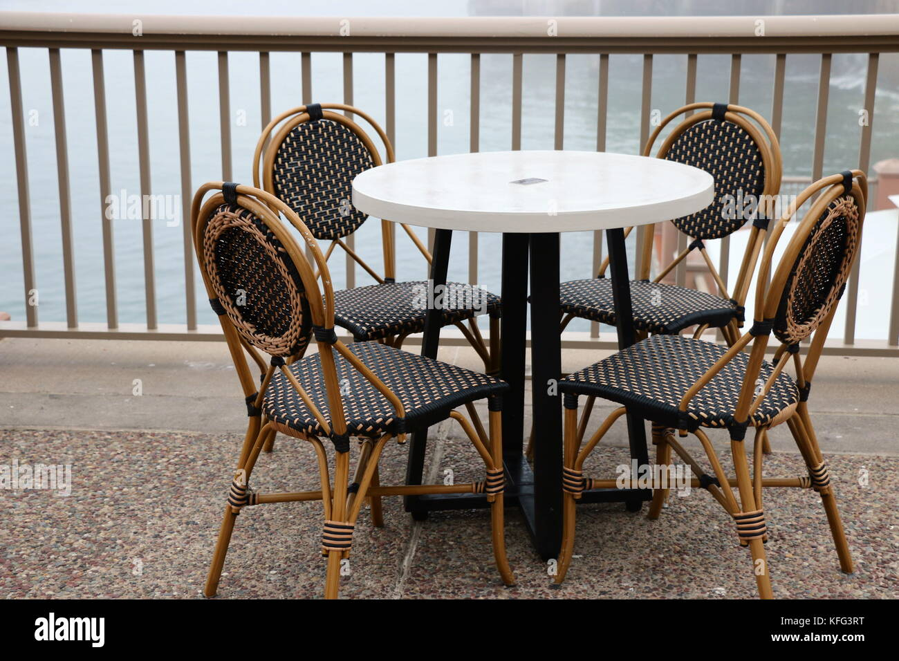 cafe table and chairs french bistro style stock image