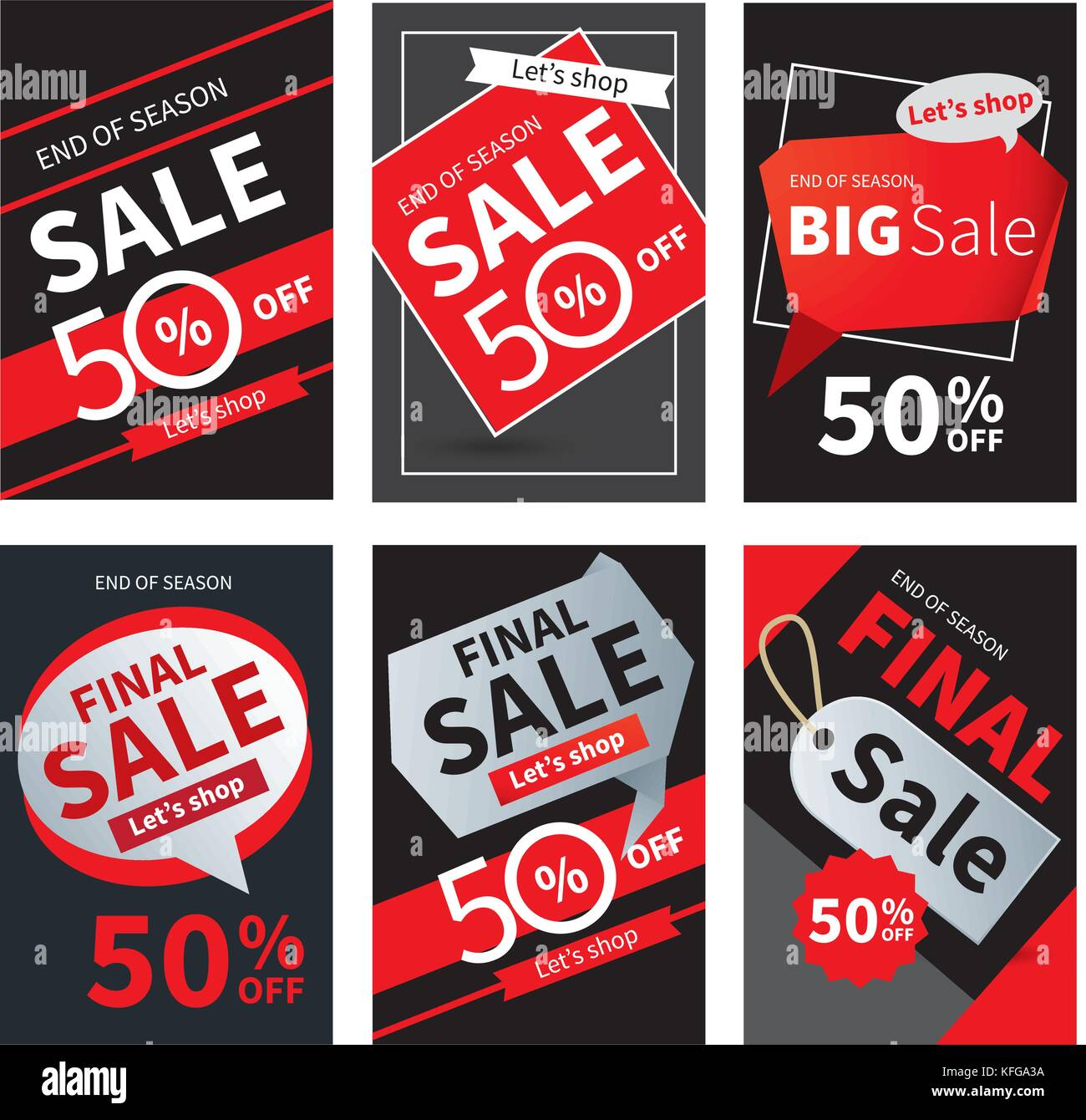 social media sale banners and ads web template set vector stock