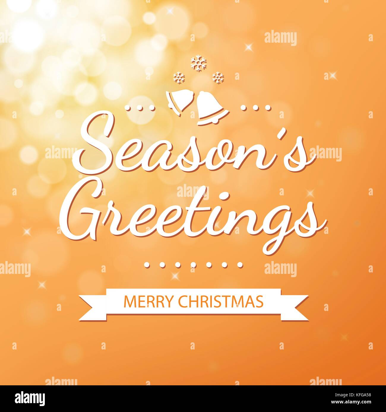 Season Greetings With Gold Bokeh Defocused Background For Christmas