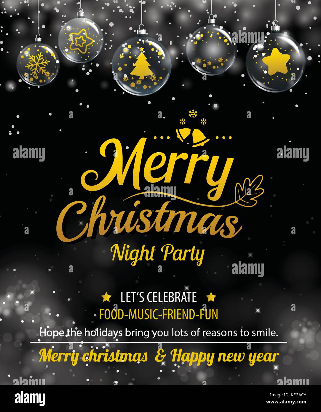 invitation merry christmas party poster banner and card design template happy holiday and new year glass ball theme concept