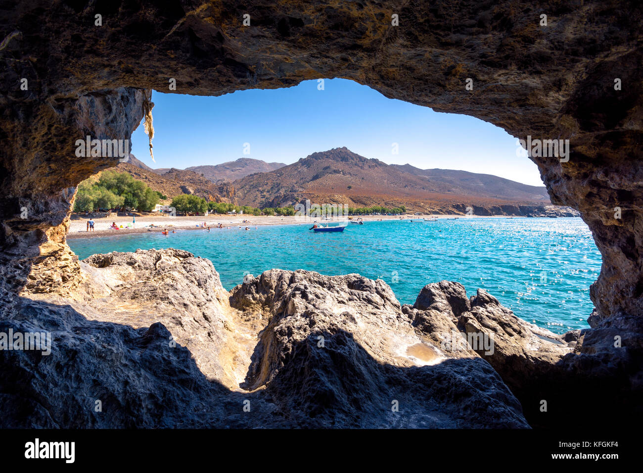 The Amazing Tropical Beach Of Panagia Tripiti Through A Cave In Crete With Sandy