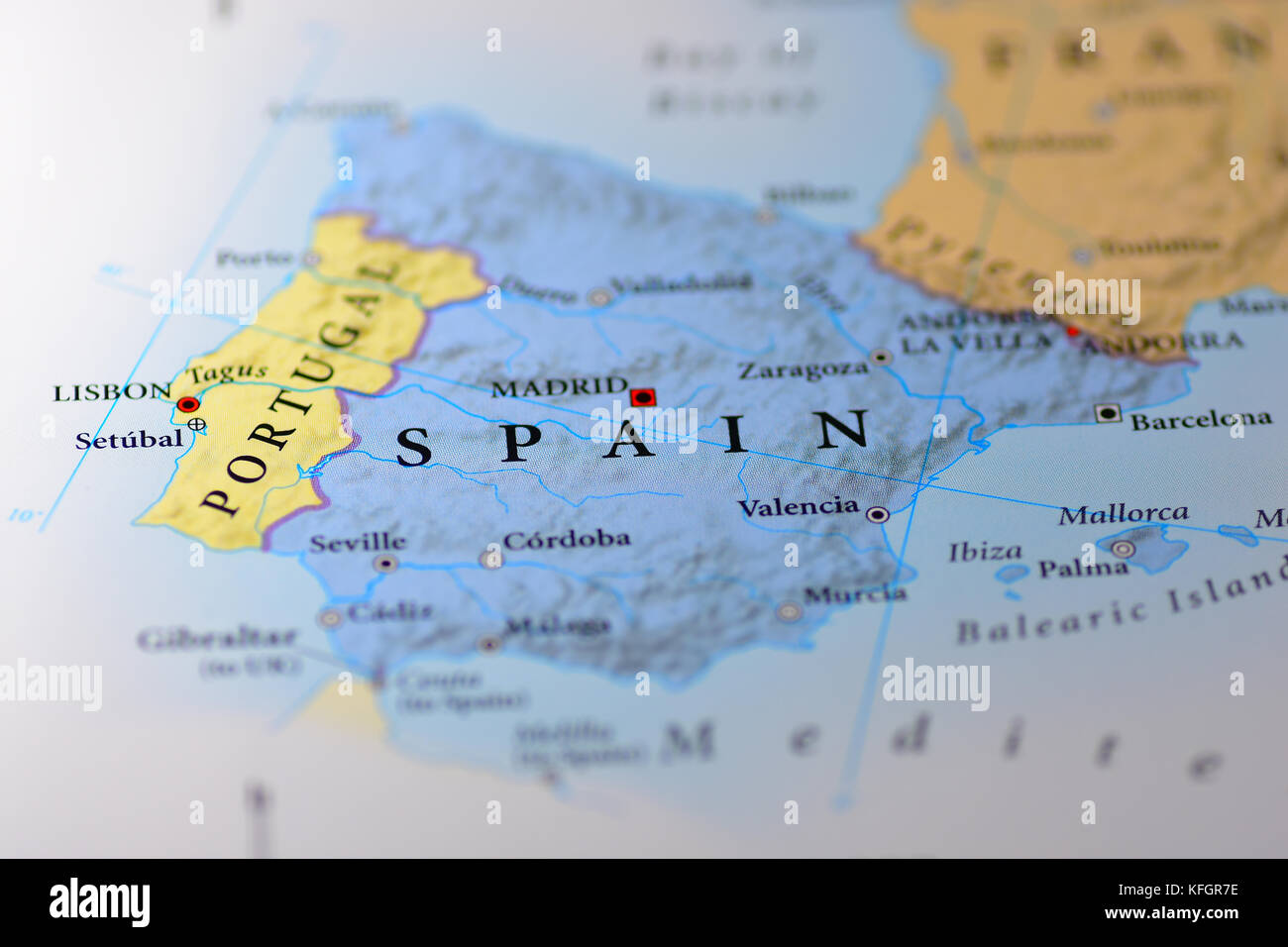 Close up of a Map of Spain Stock Photo: 164482626 - Alamy