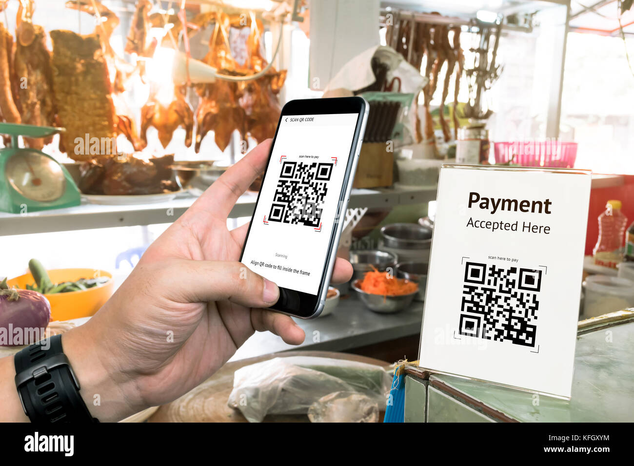 Qr Code Payment Online Shopping Cashless Technology Concept - Pay at the table restaurant
