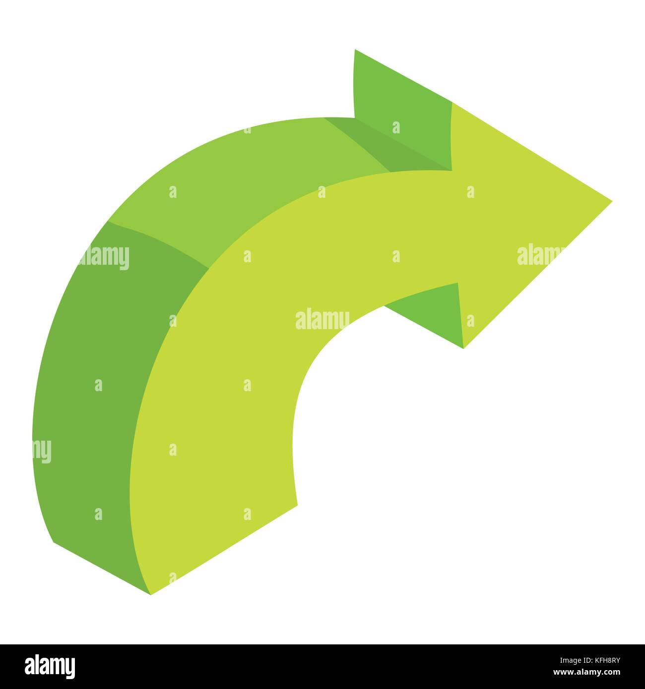 Green Curved Right Arrow Icon Cartoon Style