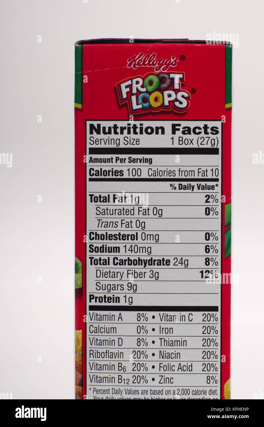 nutrition facts label for kellogg's froot loops cereal stock photo