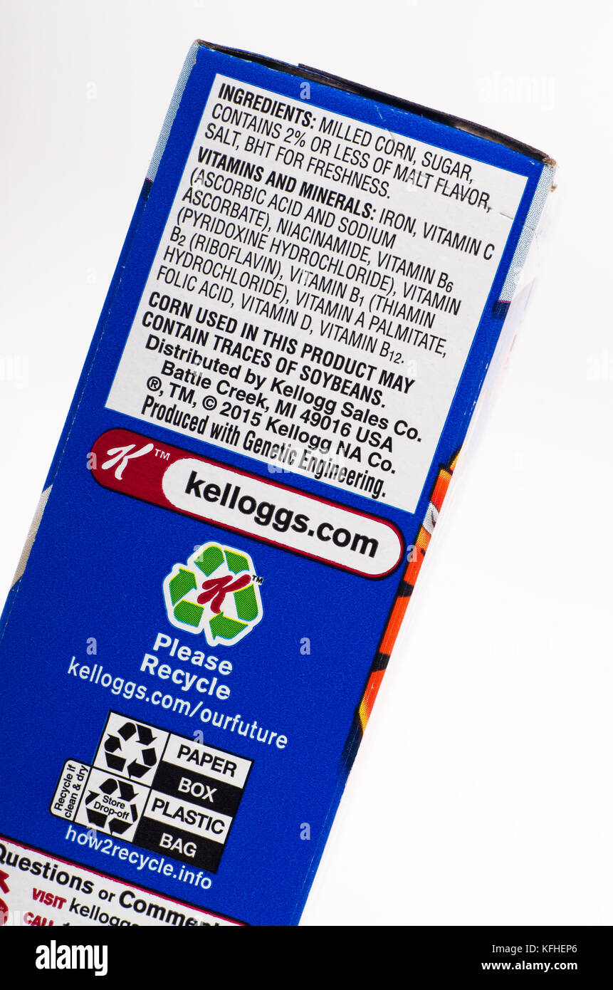 ingredient label on kellogg's frosted flakes cereal box stock photo