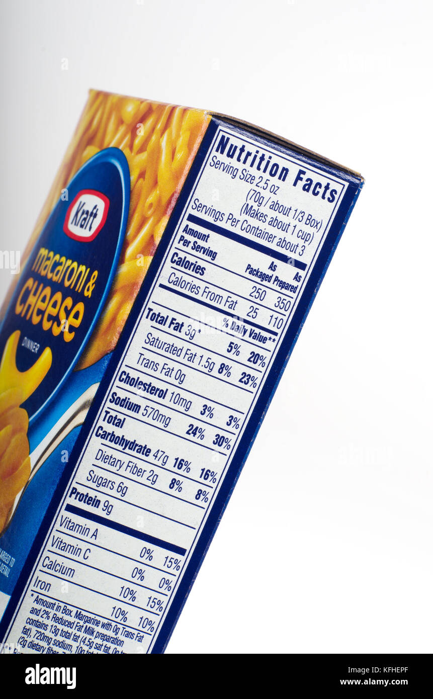 nutrition information on box of kraft macaroni & cheese usa stock