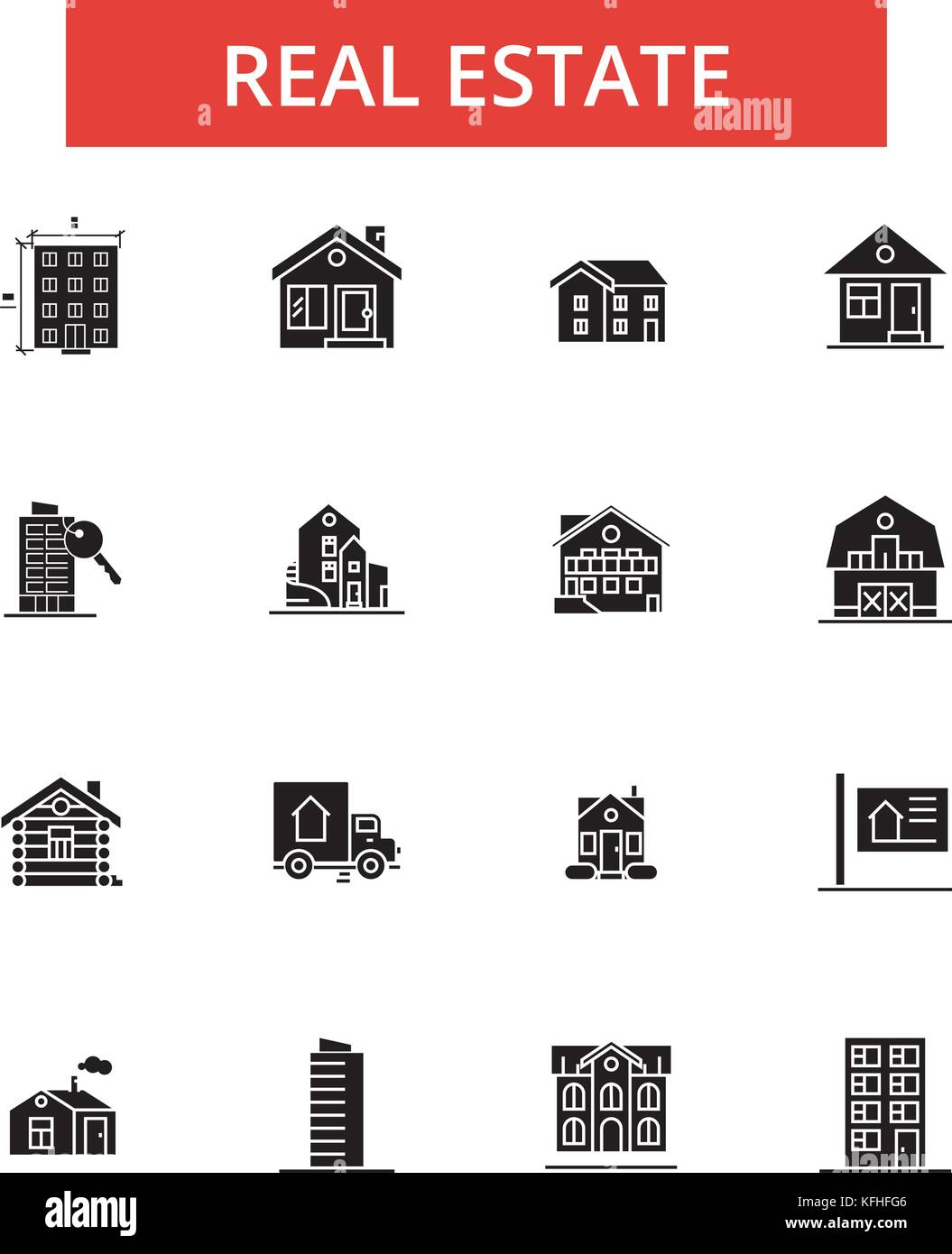 Real estate illustration thin line icons linear flat signs real estate illustration thin line icons linear flat signs vector symbols outline pictograms set editable strokes biocorpaavc Image collections