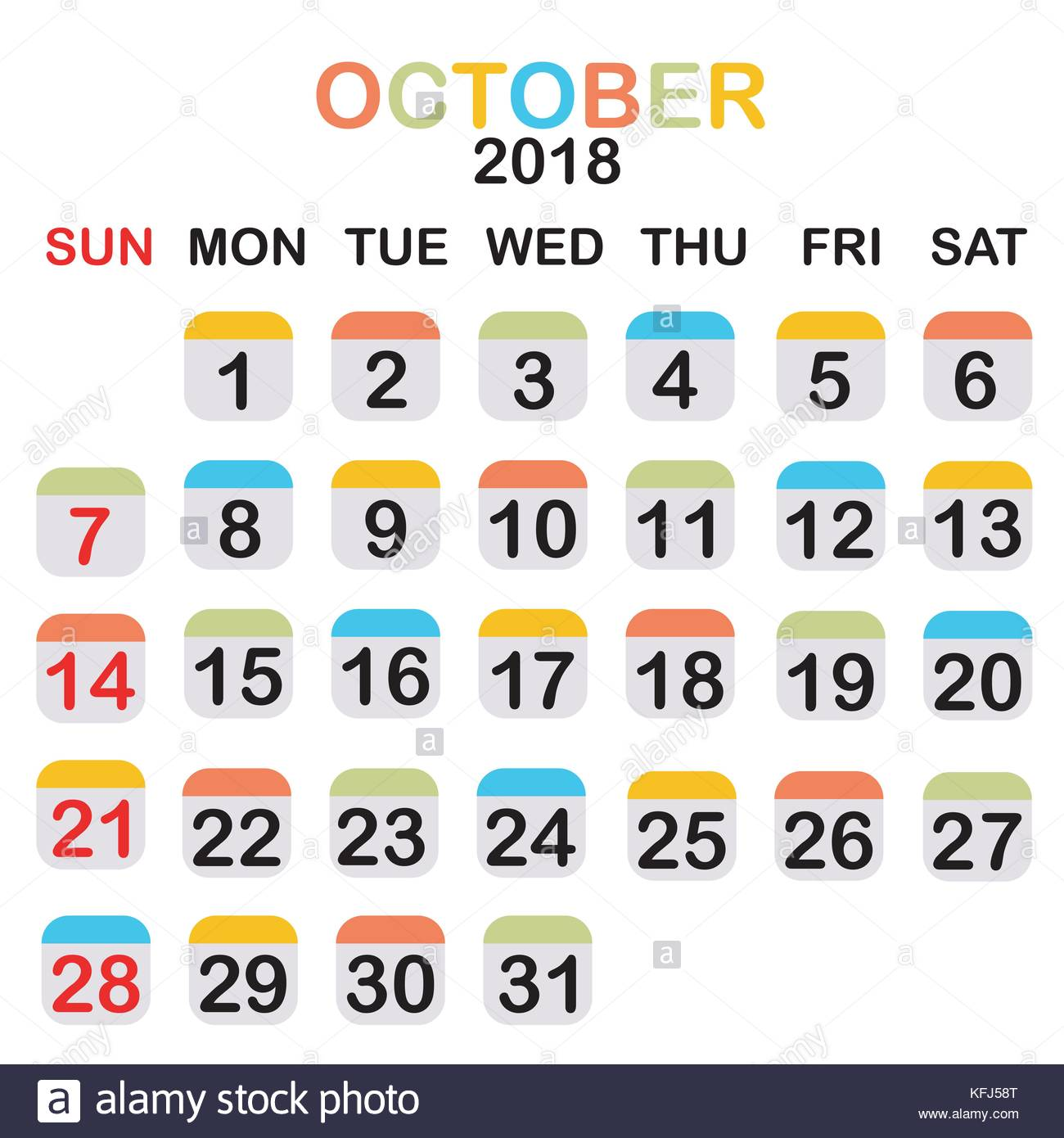 colored october 2018 calendar with week starts from sunday