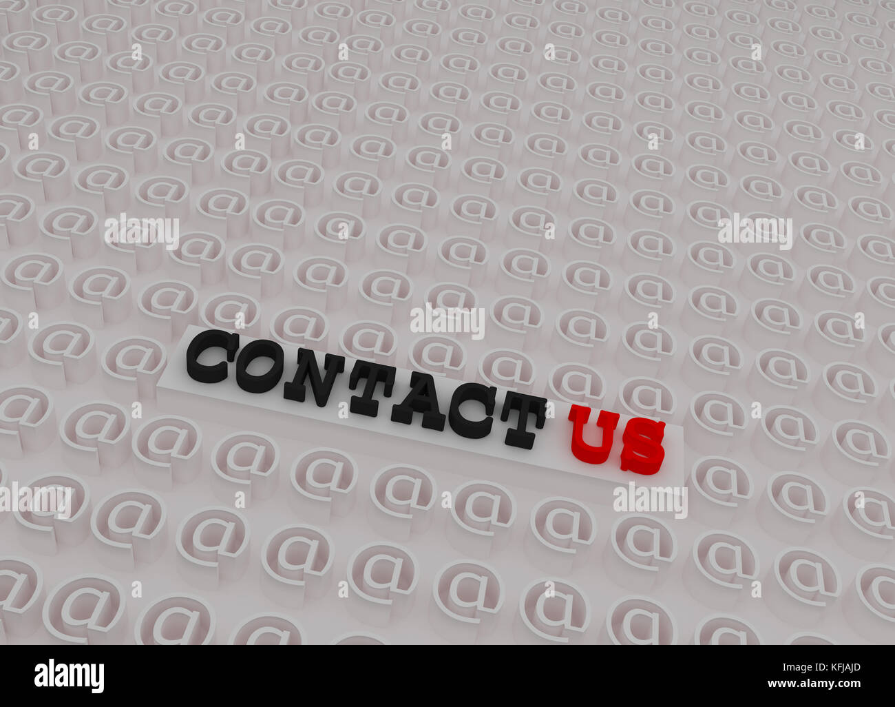 White 3d Contact Us Text On Platform Inside 3d At Sign Symbols Stock