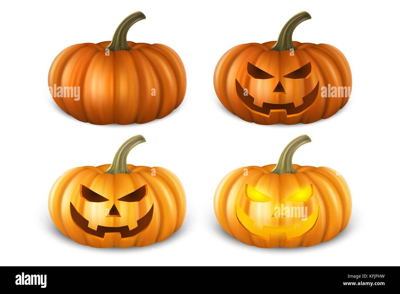 Realistic Pumpkin Set Head Jack Lantern Icon Closeup Isolated On