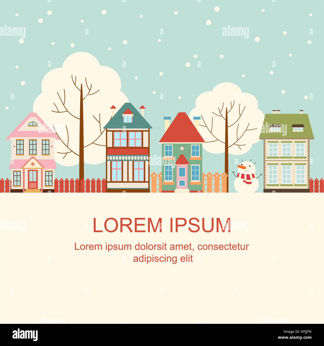 Christmas Card With Cute Houses In Victorian Style Background Stock