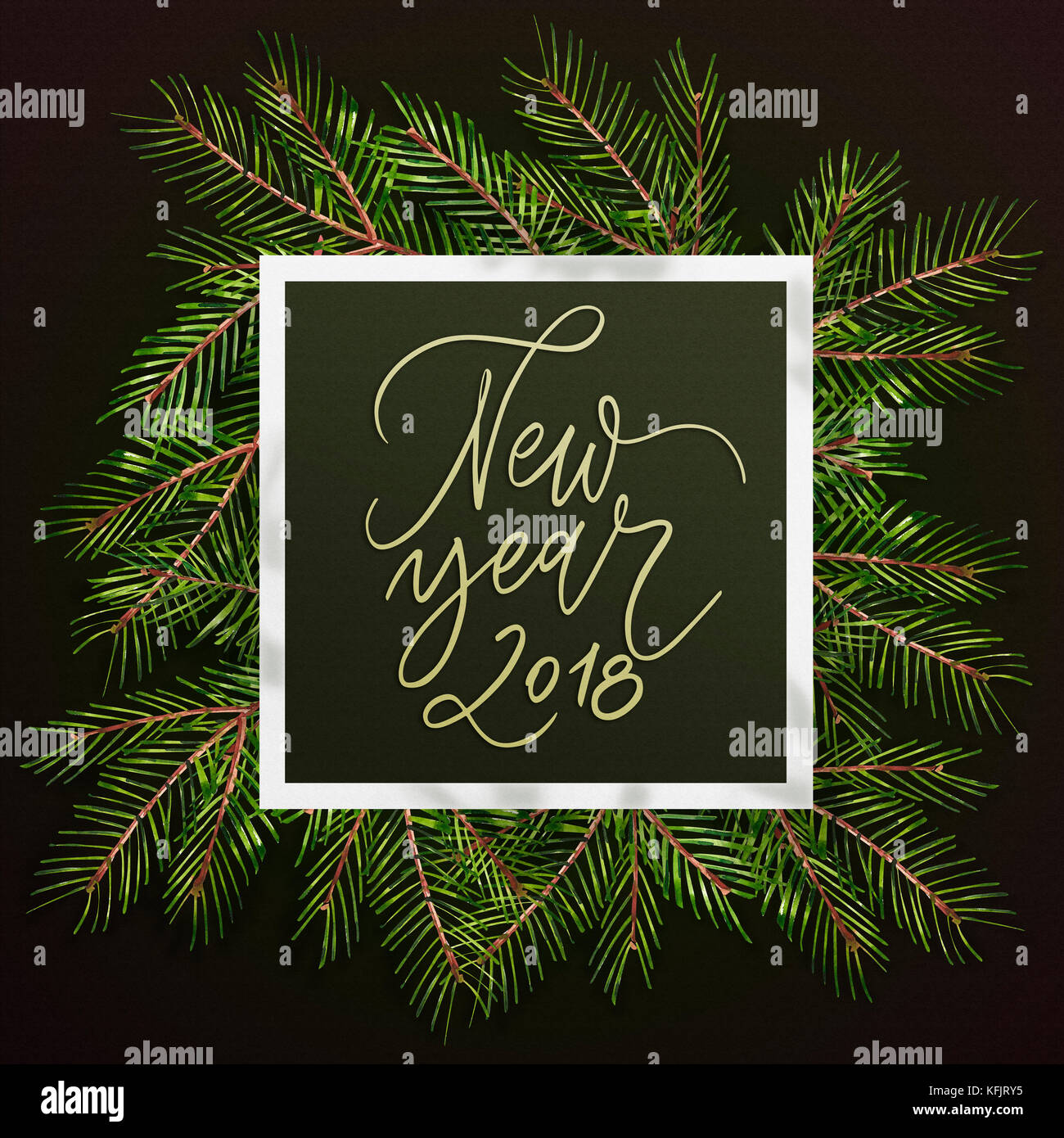 happy new year 2018 phrase christmas text on pine tree branches background new year promotion placard for shop calligraphy lettering text