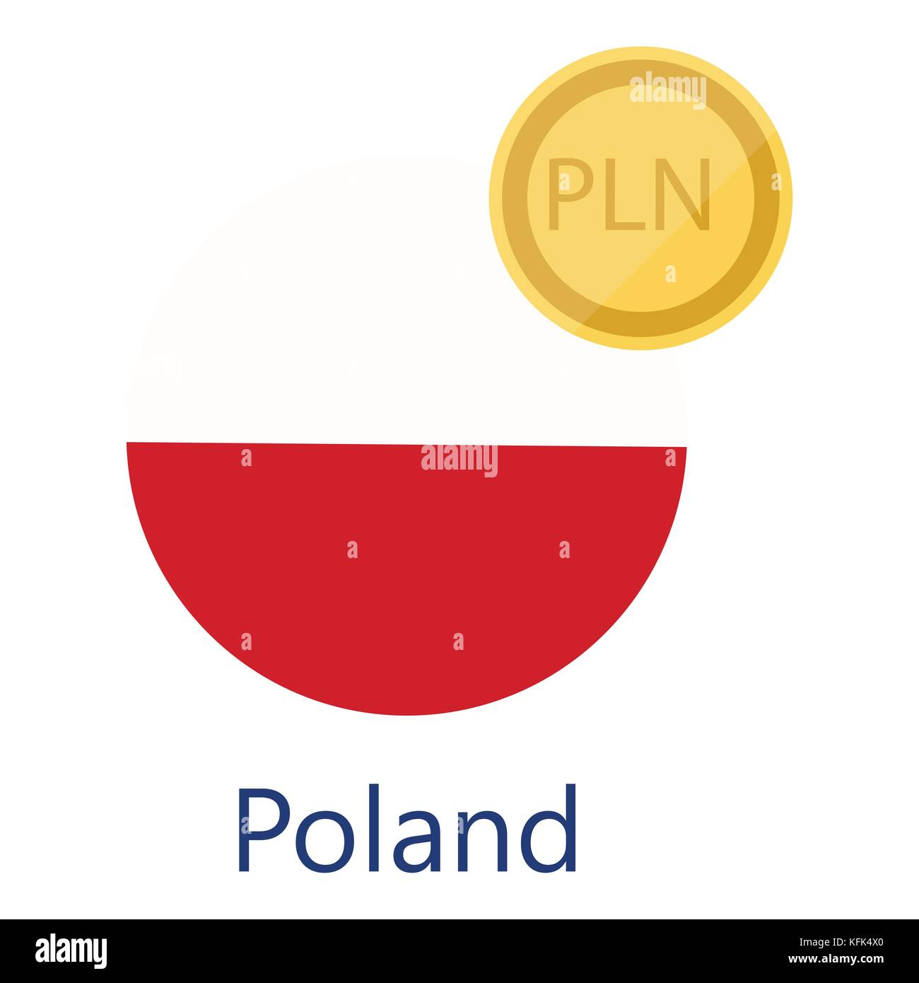 Vector Illustration Poland Round Flag And Currency Symbols Pln Stock